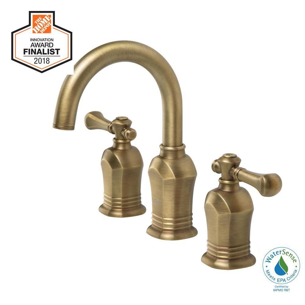 Glacier Bay Verdanza 8 In Widespread 2 Handle High Arc Bathroom Faucet In Antique Brass Hd67389w 8024h High Arc Bathroom Faucet Brass Bathroom Faucets Bathroom Faucets