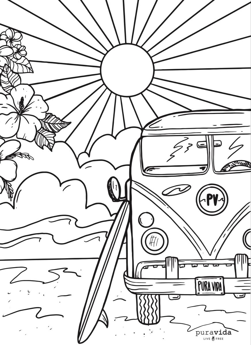 Pura Vida Coloring Page Cute Coloring Pages Detailed Coloring Pages Coloring Books