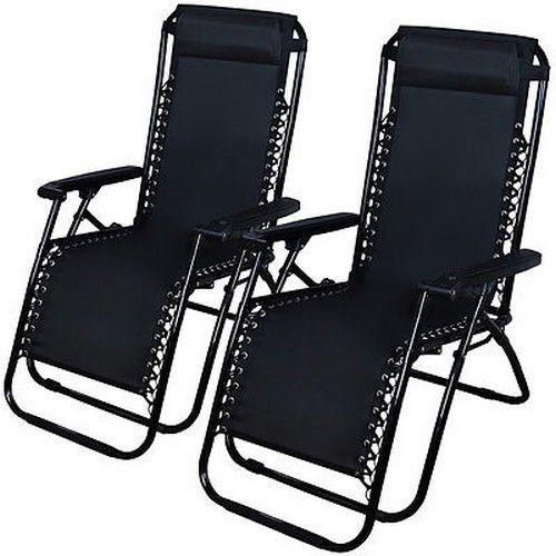 2 Zero Gravity Recliner Patio Pool Folding Chair Black Chaise Lounge Lawn  Beach