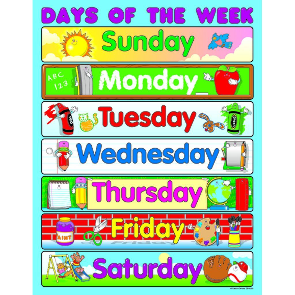 Carson Dellosa Days Of The Week Chart In