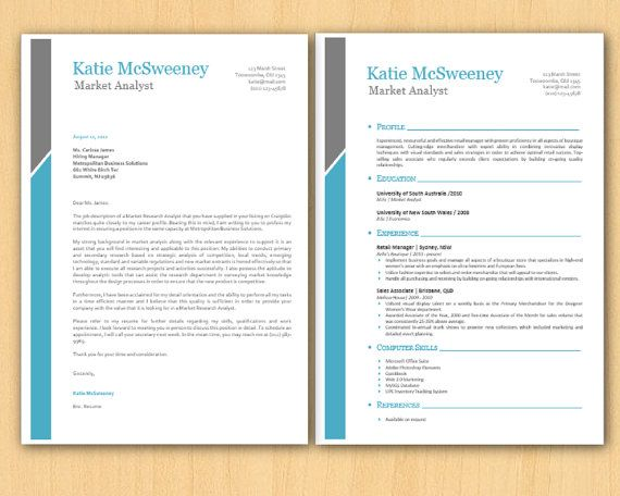 Aqua Grey Left Bar Clean Microsoft Word Resume 1 \ 2 p by Inkpower - resume on microsoft word