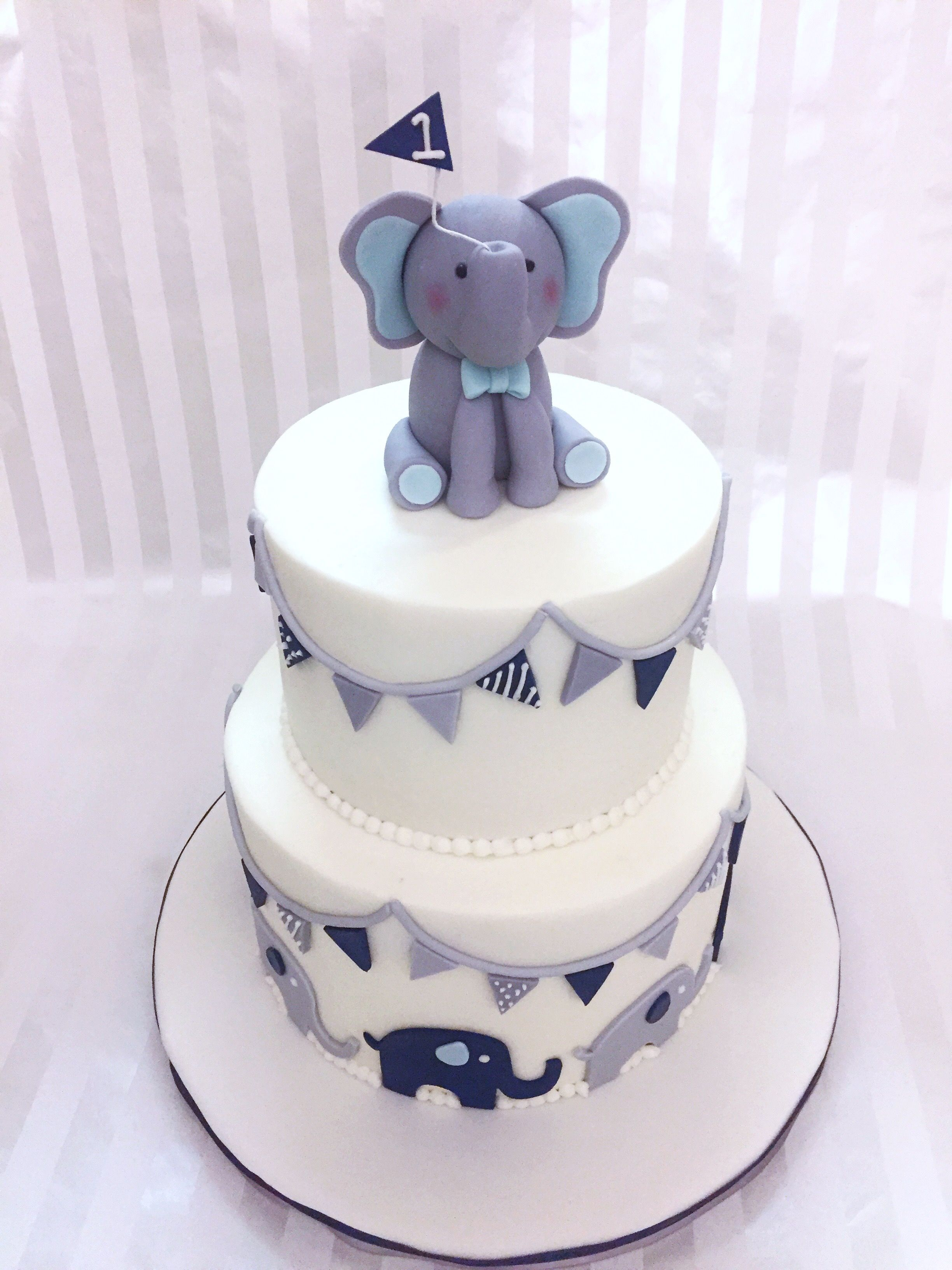 Baby Boy Elephant 1st Birthday Cake