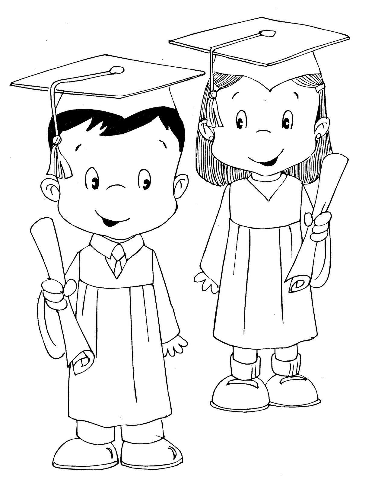 Dibujo De Graduación Para Colorear Imagui Graduación Muñecos