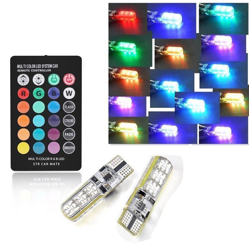 2pcs Waterproof Colorful Auto Lamp LED RGB Fog Lights Interior Wedge