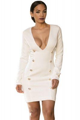 1375097b5 White Long Sleeve Plunge V Neck Button Bodycon Mini Dress