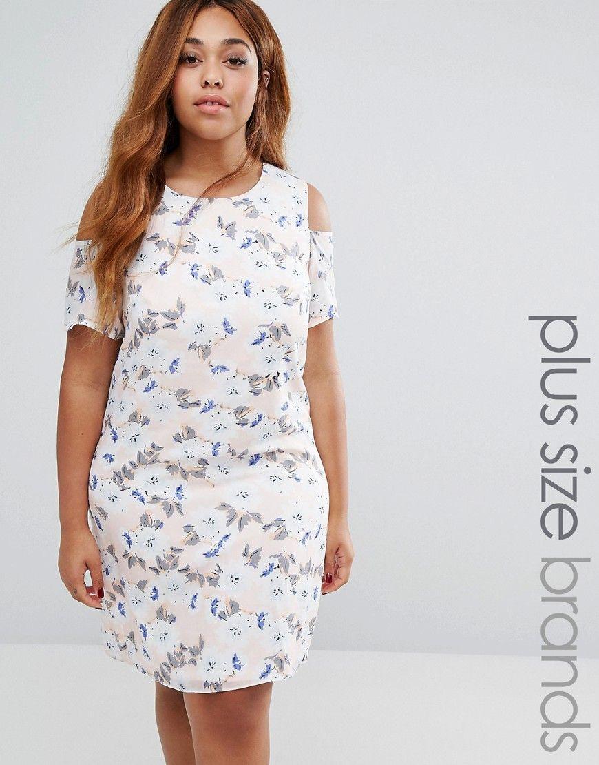 bd77761d455 Koko Plus Shift Dress With Cold Shoulder In Floral Print - Pink ...