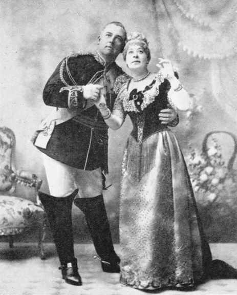 """Alfred Ellis photograph of Rosina Brandram as Lady Sophy in Act 2 of the original production of """"Utopia Limited"""" (1893) with Rutland Barrington as King Paramount."""