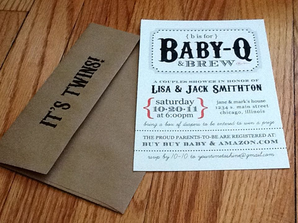 Western BBQ Baby Shower Invitations With Custom Printed Envelopes