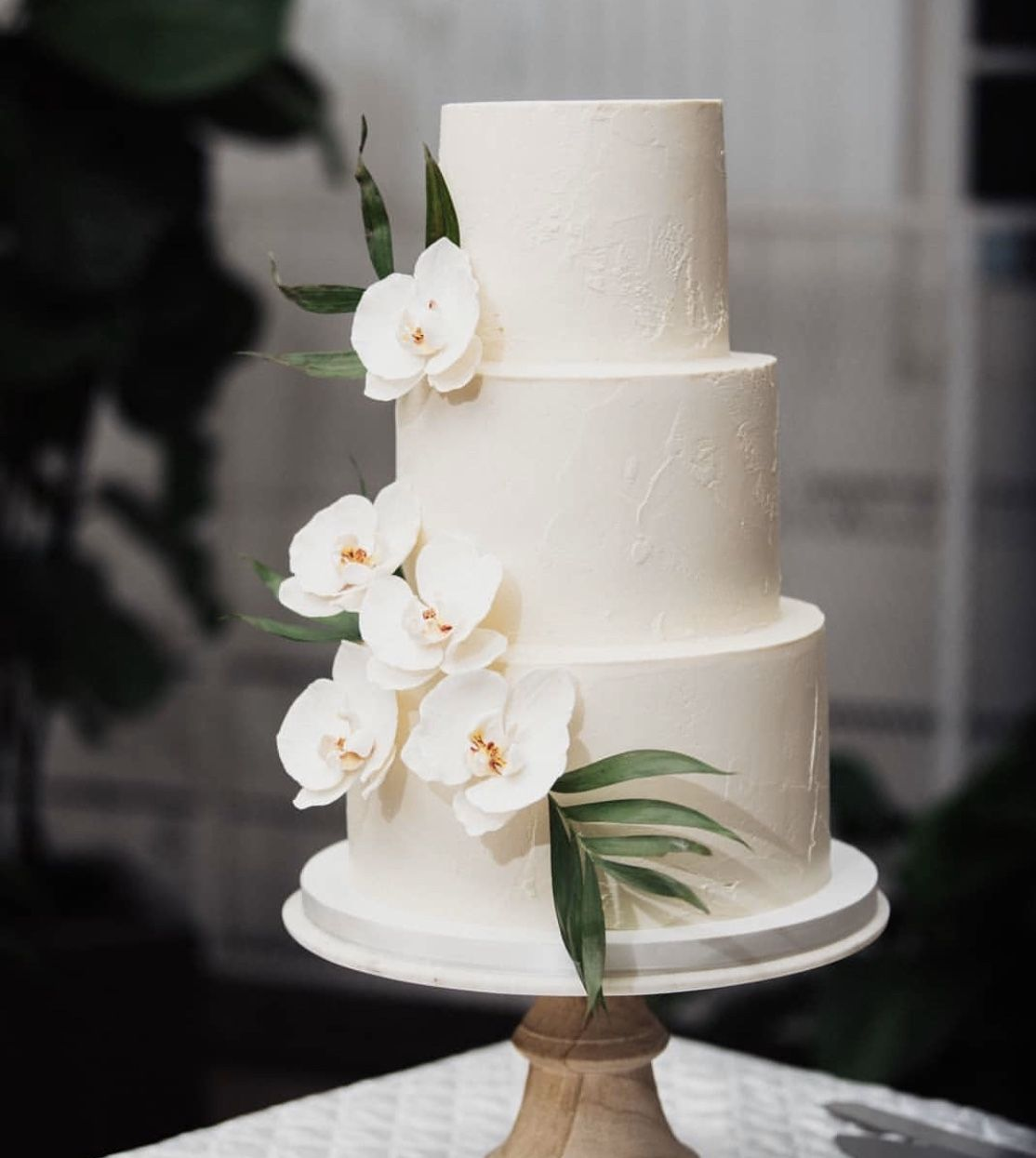 Simple Tiered Wedding Cake With Natural Phalaenopsis Orchids