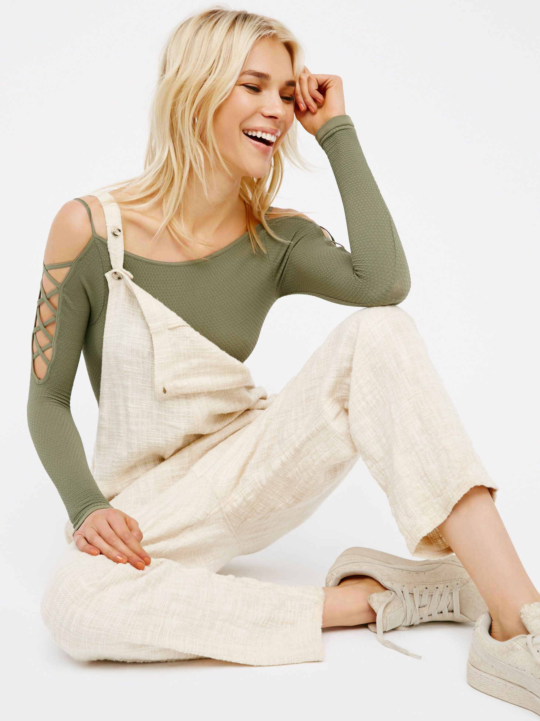 Lace Up Sides Layering Top | American made long sleeve layering top featuring an open shoulder design with crisscross lace-up details for an ultra cool, edgy feel. Super stretchy fabrication.