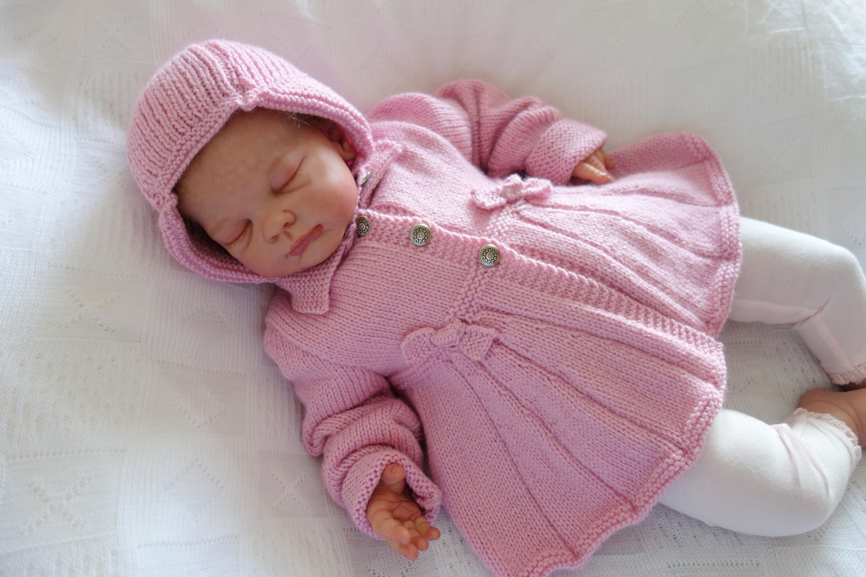 e473bb611711 Hand knitted baby girl s matinee vintage style sweater in pale pink ...
