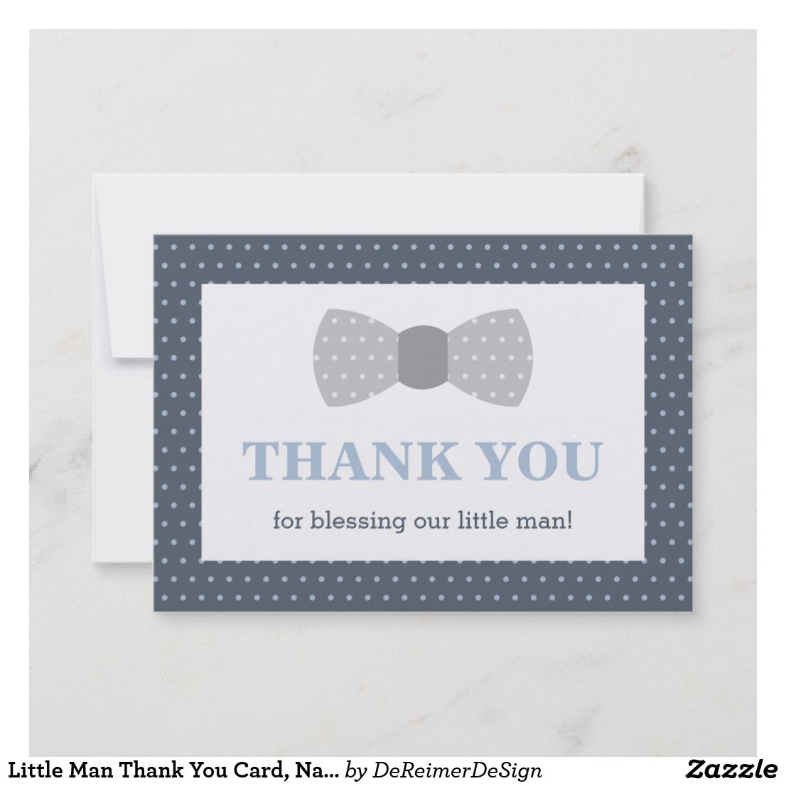 Little Man Thank You Card Navy Blue Gray Thank You Cards Thank