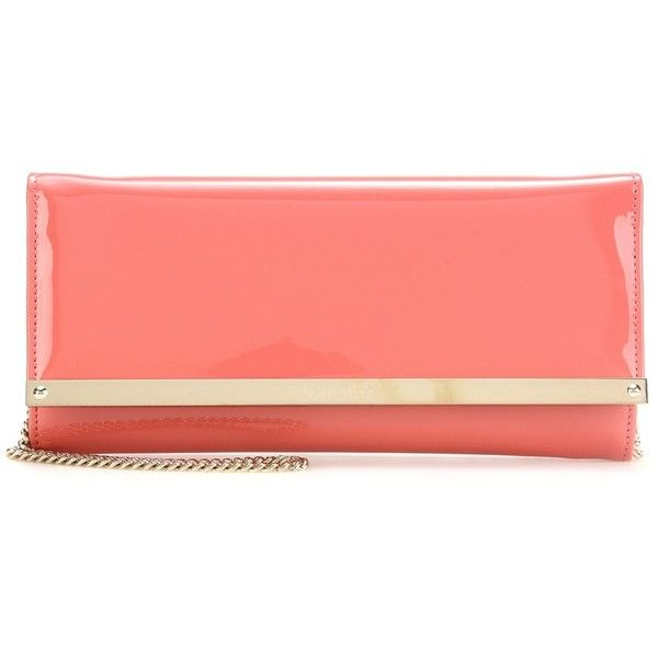 Jimmy Choo Milla Patent Leather Clutch (1.950 HRK) ❤ liked on Polyvore featuring bags, handbags, clutches, pink, red patent leather handbag, red purse, red patent leather purse, pink clutches and pink patent leather handbag