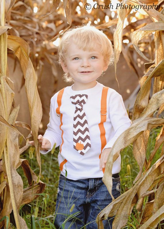 6e7a0fd63b65 Toddler Boy Fall Clothes. Halloween Pumpkin Patch Outfit. Tie and ...