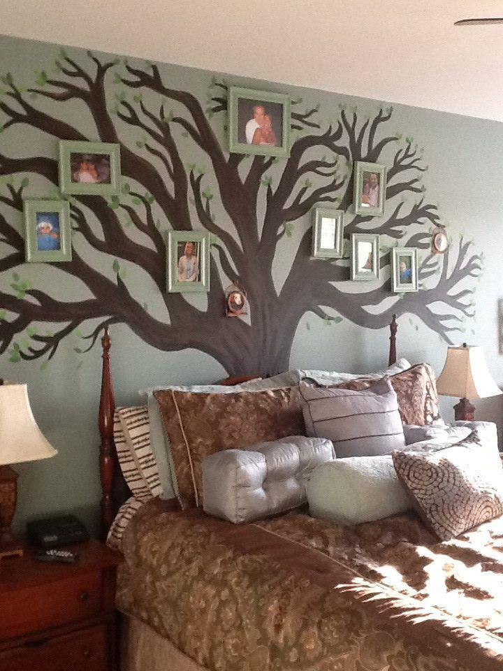 Here Is My Painted Tree Complete With Family Photos In Green