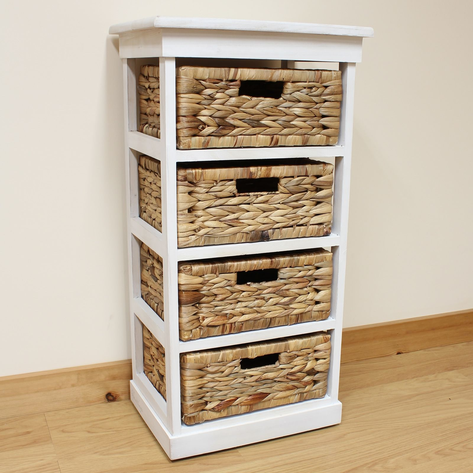4 Drawer Low Wicker Storage Unit With Wooden Frame