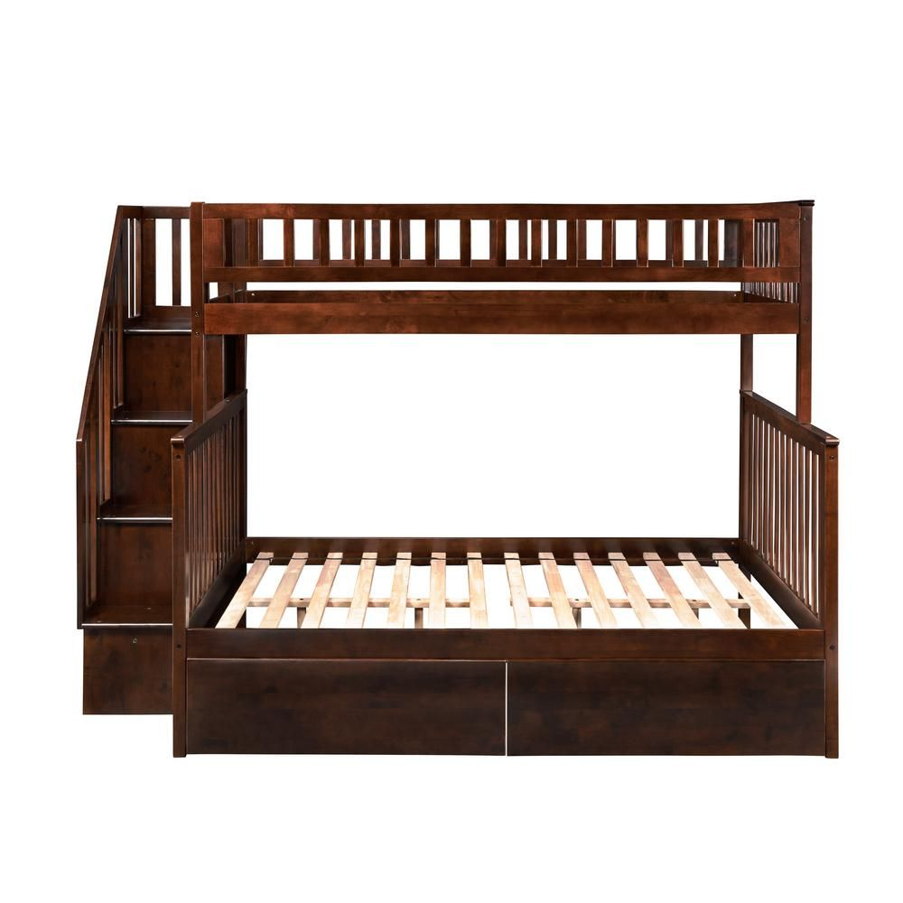 Atlantic Furniture Woodland Walnut Twin Over Full Staircase Bunk Bed With 2 Urban Bed Drawers Brown Atlantic Furniture Bunk Beds Staircase Bunk Bed