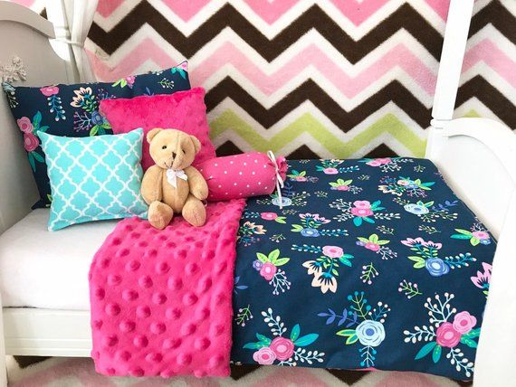 American Girl 18 Doll Bedding Set, 6 pc. Navy Floral #bearbedpillowdolls