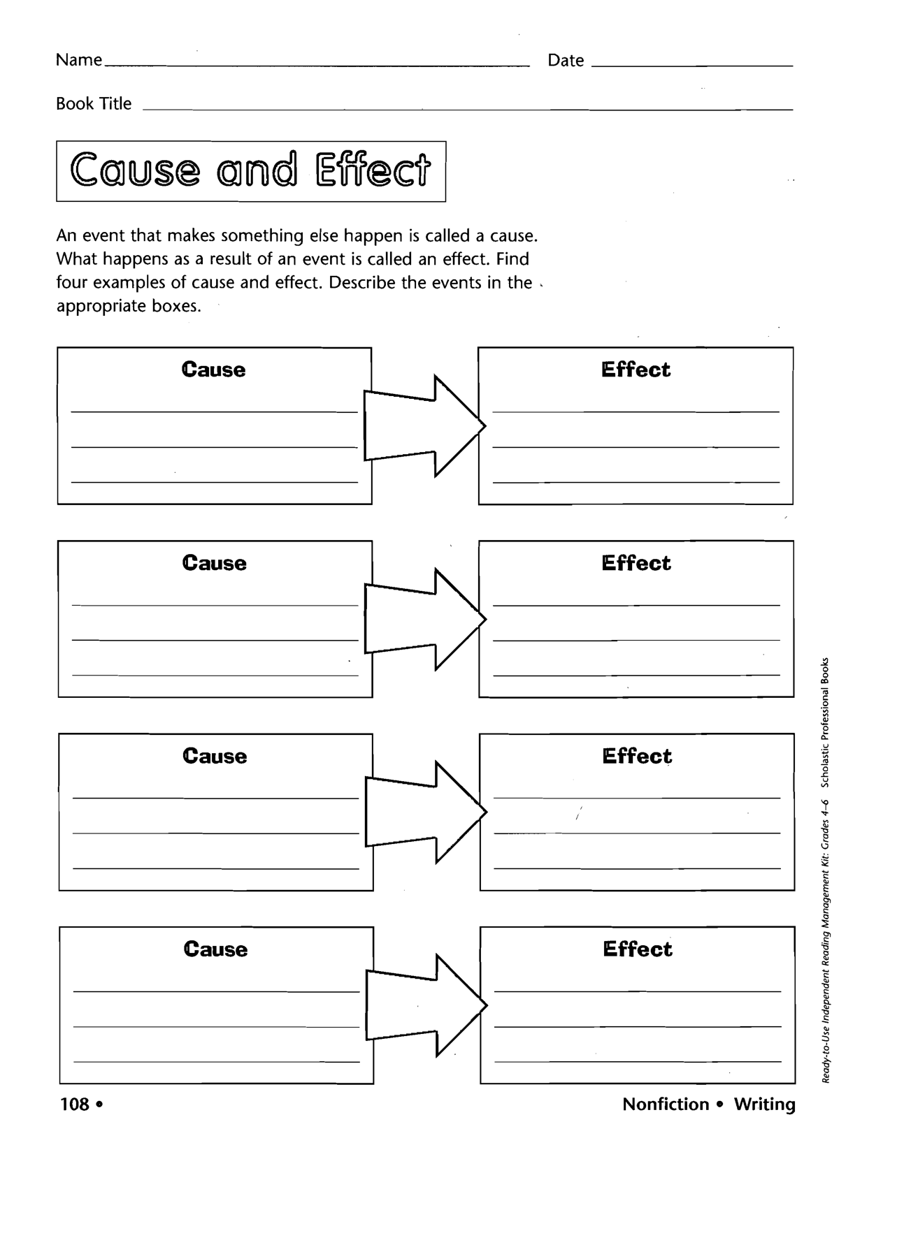 Cause Effect Graphic Organizer Middle School