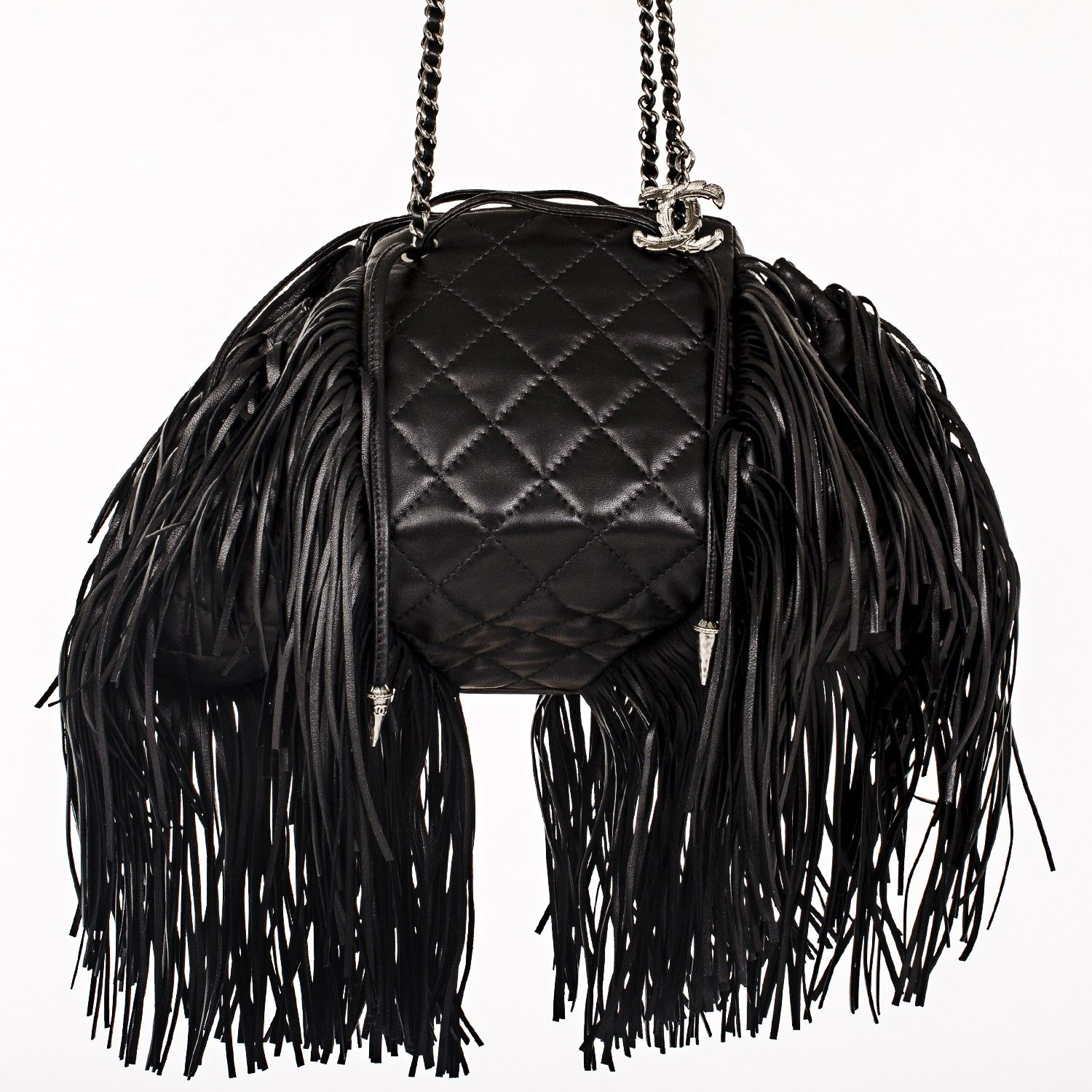 Chanel Black Quilted Lambskin Dallas Drawstring Runway Fringe Bag Chanel Black Quilted Lambskin Dallas Drawstring Runw Fringe Bags Chanel Black Chanel Fringe