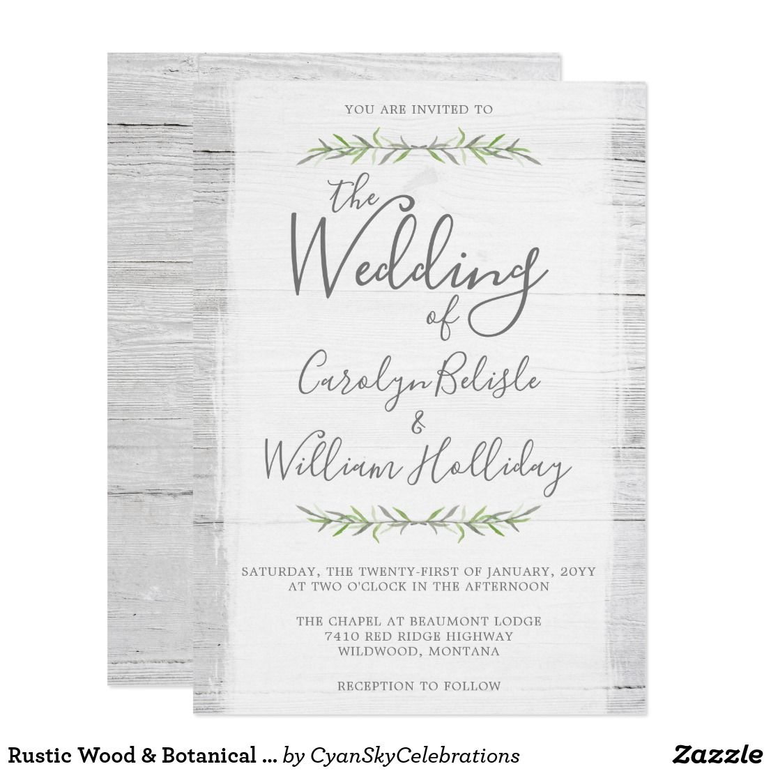 Rustic Wood & Botanical Leaves Wedding Invitation | Timeless wedding ...