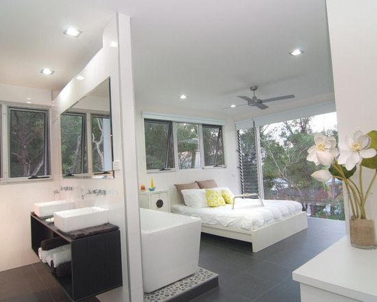 Stunning contemporary house emphasizing simplicity chic modern open bedroom bathroom design shute also rh pinterest