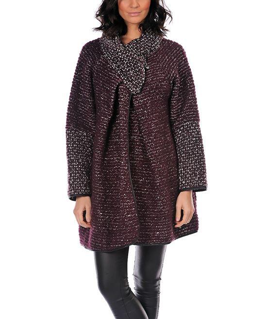 Dark Purple Mottled Crisscross Wool-Blend Coat