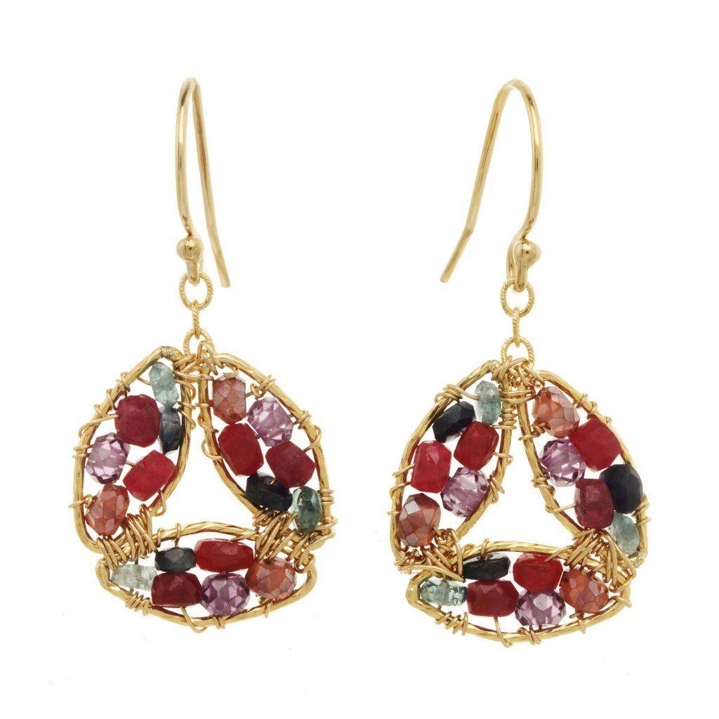 Michelle Pressler Earrings Amethyst and Ruby 2846 Artistic Artisan