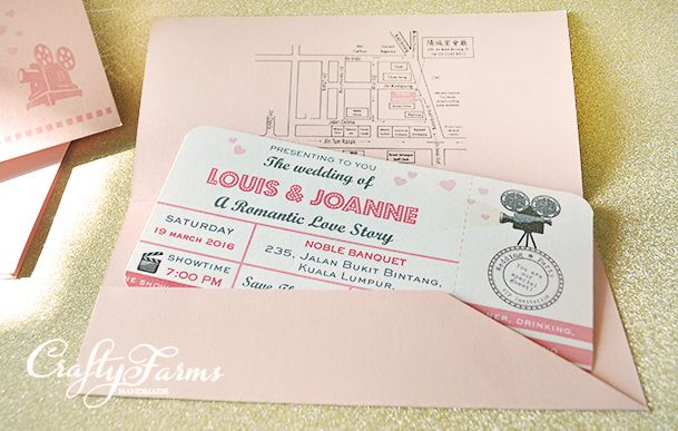 Pink Retro Movie Ticket Themed Wedding Invitation Card Handmade