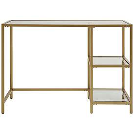 Grayson Tempered Glass And Gold Metal 2 Shelf Office Desk 65x00 Lamps Plus In 2020 Glass Desk Glass Top Desk Cheap Office Furniture