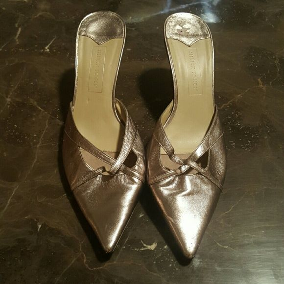 Slide on kitten heels Cute slide on kitten heels, good condition some scuffing. Jillian Jones Shoes Heels