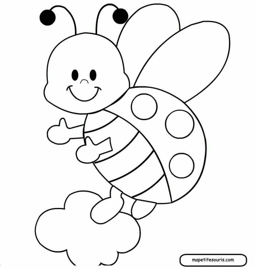 Flying Cartoon Ladybug Printable Coloring Page For Children