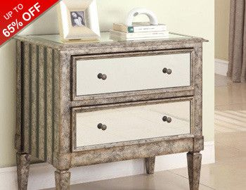 Reflect your style sense with our chic collection of mirrored furniture. Perfect for making a room look more expansive, these chic designs add a dash of glam and extra light to both large and small spaces. Arrange out-the-door essentials on antiqued chests, place go-to jewelry on chic vanity trays, and highlight decor or sleek consoles.