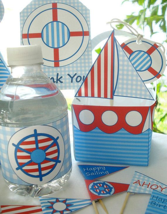 DIY Nautical Birthday Party Kit Sailboat by LilCubbyPrintables