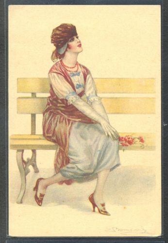 BOMPARD-HIGH-FASHION-LADY-HAT-FLOWERS-BENCH
