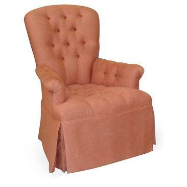 Check out this item at One Kings Lane! Stephanie Tufted Skirt Chair, Salmon