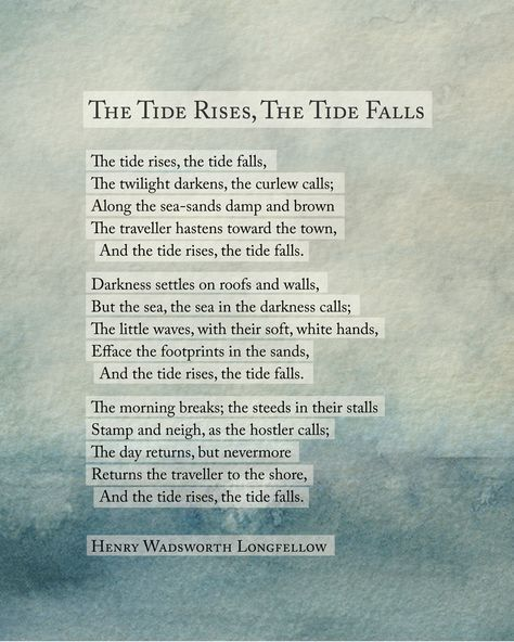 Sea Poetry Art Poem, Henry Wadsworth Longfellow The Tide