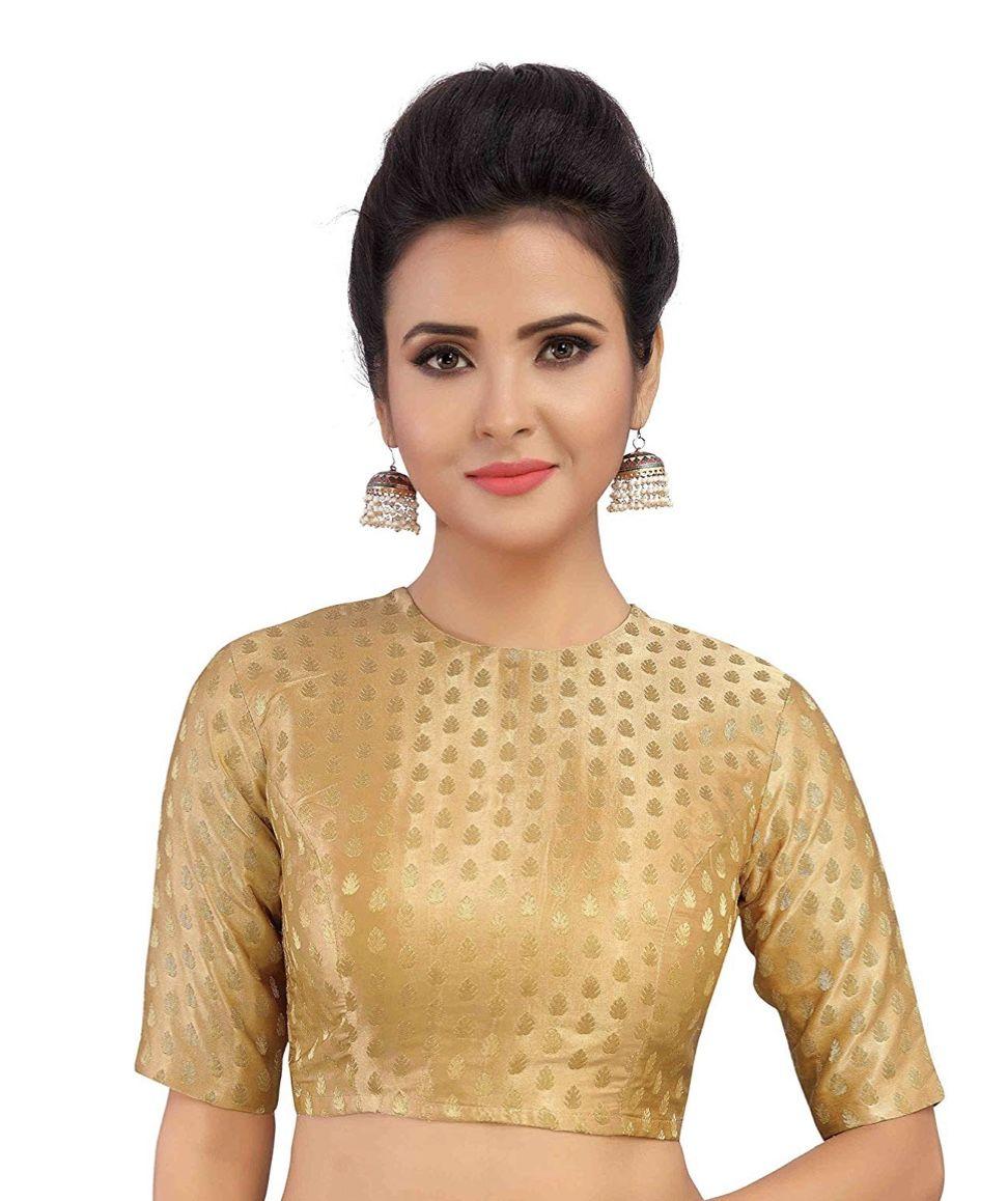 Pink New Readymade Blouse Indian Women/'s  Brocade Saree Blouse with Boat Neck Sari Choli Shirt Elbow Sleeves Sari Blouse Saree Choli