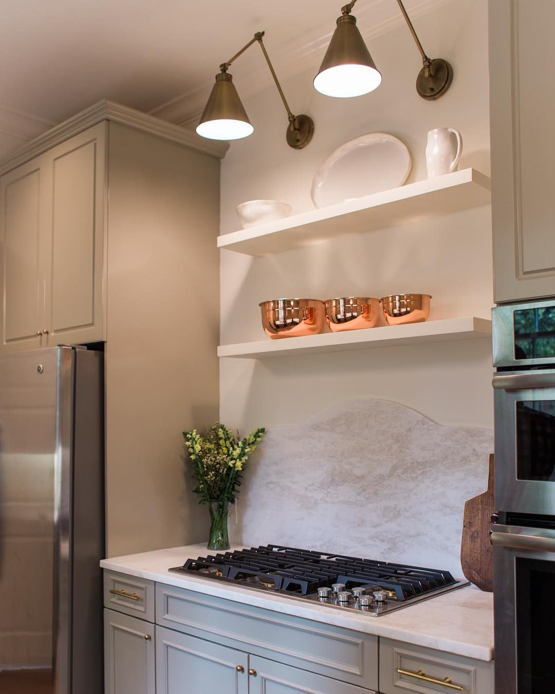 Mystery White Dolomite Countertops And Benjaminmoore S Sandy Hook Gray Cabinets