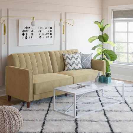 Dhp Pin Tufted Transitional Velvet Futon Couch Multiple Colors Walmart Com Futon Living Room Futon Couch Couch