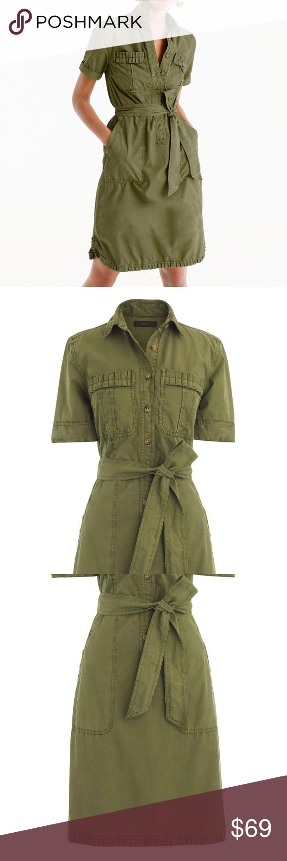 4b0e5cb457 J.Crew Ruffle Hem Utility Shirtdress. Cute utility dress with feminine  ruffles. -