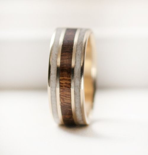 Ironwood elk antler wedding band with inlays of ironwood elk