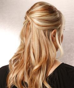 Blonde And Auburn Highlights Up Long Straight Hairstyle