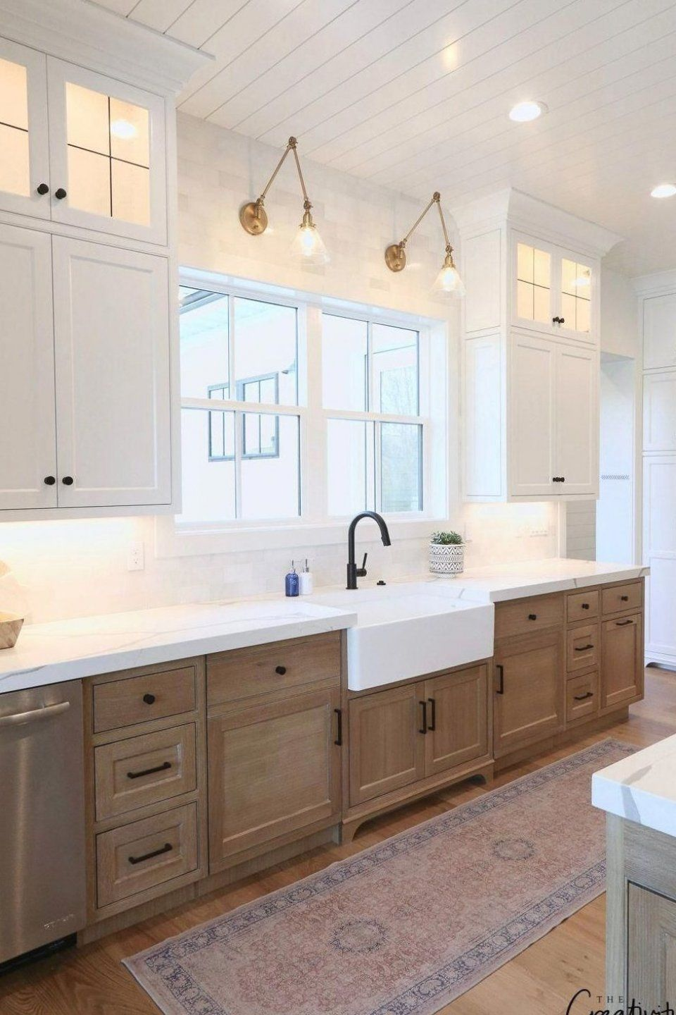 43++ White upper cabinets wood lower information
