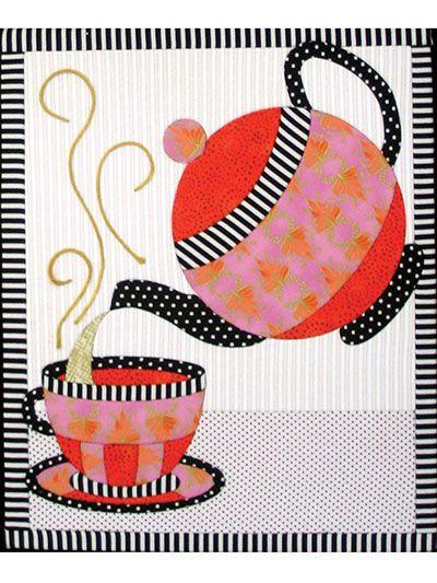 Tea set no sew wall hanging puntadas pinterest - Apliques para cortinas ...