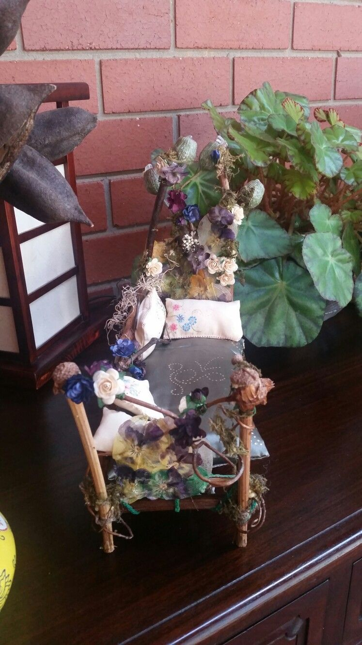 Fairy day bed dried and paper flowers grape vine moss acorn gumnuts handpainted silk cushions