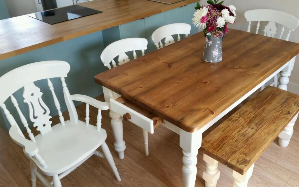 Shabby Chic Style Dining Kitchen Table With Bench And 4x Chairs