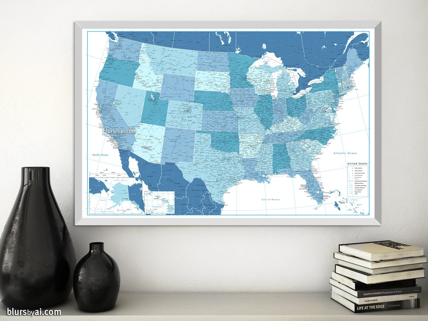 Personalized Us Map.Personalized Us Map Print Highly Detailed Map Of The Us With Roads