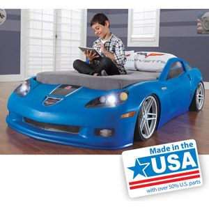Step2 Corvette Convertible Toddler To Twin Bed With Lights Blue