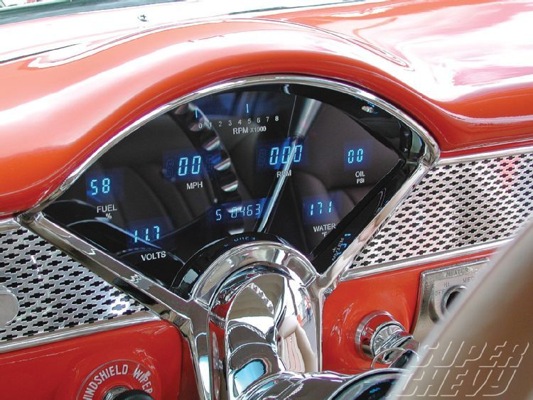Super Chevy Trifive Belair digital dash 1955 chevy